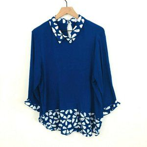 Elle Blue White Long Sleeve Collar Blouse XXL